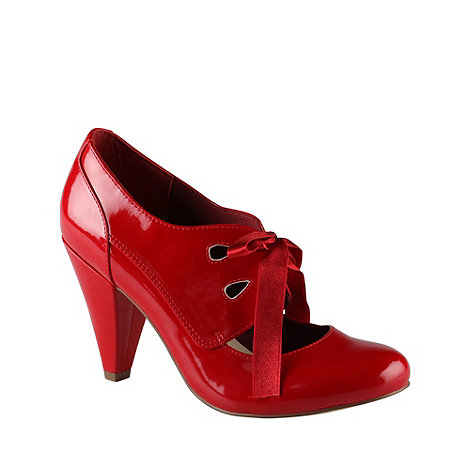 Call It Spring - Red high heel round toe +pochatko+ court shoe with ribbon tie