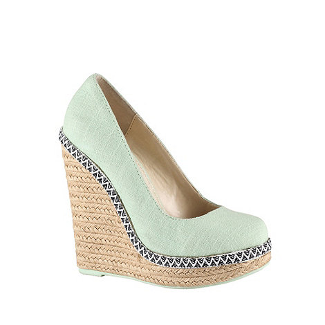 Call It Spring - Light green canvas round toe 'weslia' high heeled wedge sandals