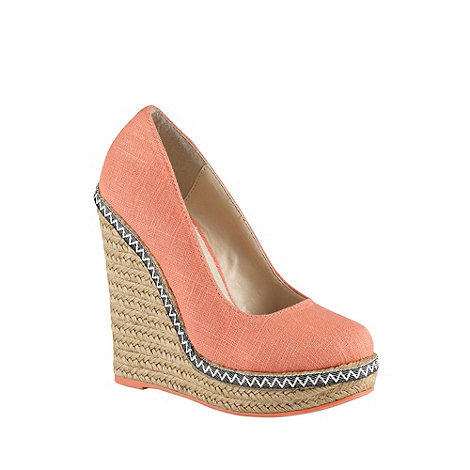 Call It Spring - Coral canvas high heeled +weslia+ wedge sandals