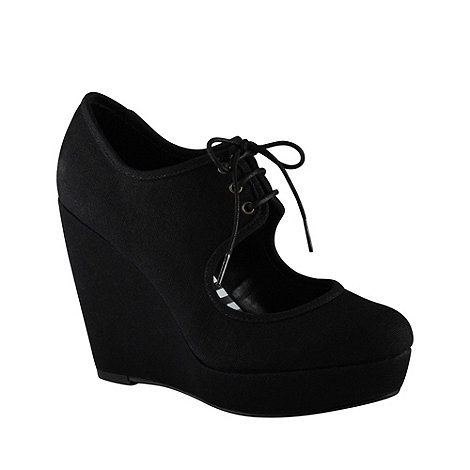 Call It Spring - Black 'houseman' cut-out platform wedges