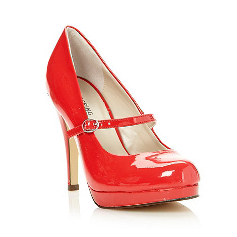 Call It Spring - Red faux leather high round toed mary janes