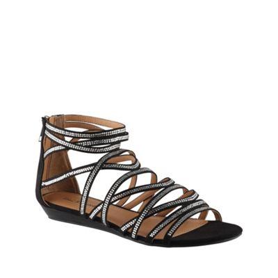 Call It Spring Black ´lin´ embellished strap gladiator sandals - . -
