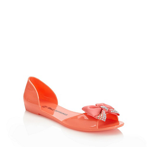Call It Spring - Coral 'fodor' bow trimmed sandals