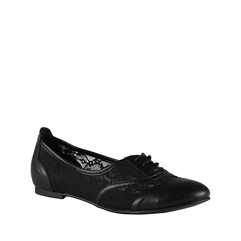 Call It Spring - Black leatherette +malaspina+ brogue shoes with lace insert