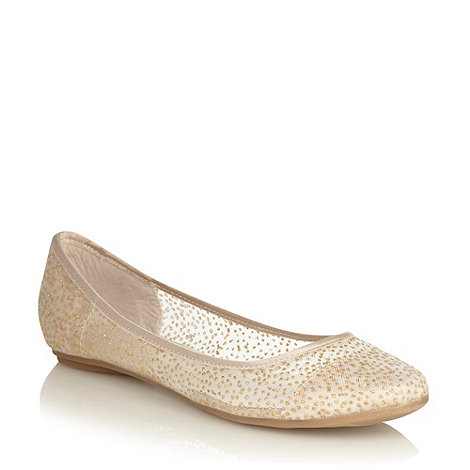 Call It Spring - Gold mesh round toe +taibe+ ballet flats with glitter dot pattern