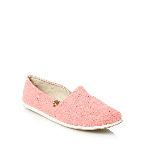 Call It Spring - Coral broderie overlay espadrilles