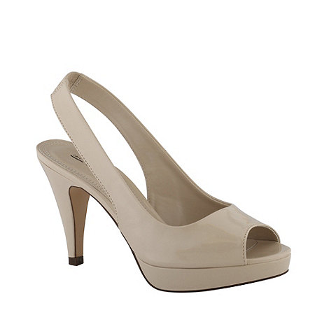 Call It Spring - Cream leatherette slingback high heel peep toe +evelaines+ court shoe