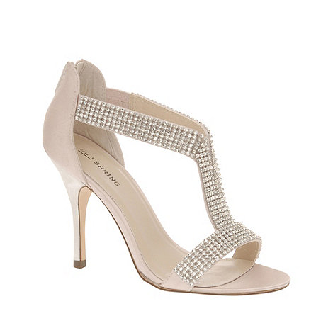 Call It Spring - Cream high heel open toe t-bar +heswall+ shoes with diamante