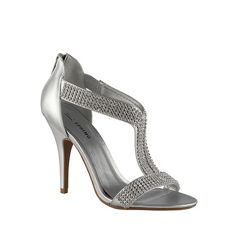 Call It Spring - Silver faux leather high heel open toe t-bar 'heswall' shoes with diamante
