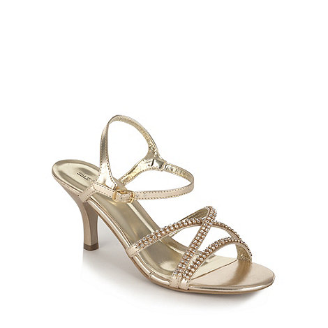 Call It Spring - Gold diamante strapped mid heeled sandals