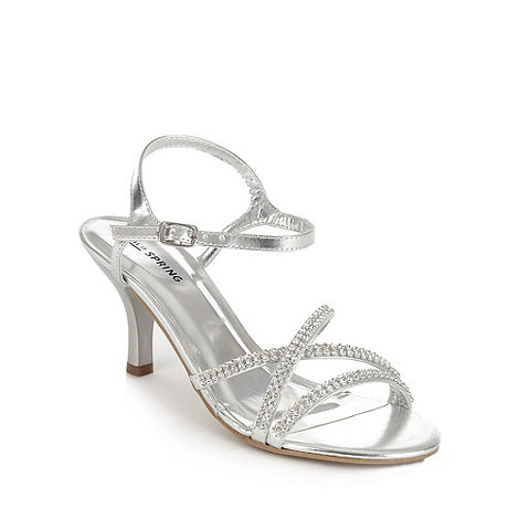 Call It Spring - Silver diamante strapped mid heeled sandals