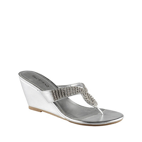 Call It Spring - Silver leatherette +wallick+ mid heel wedge sandal with diamante trim
