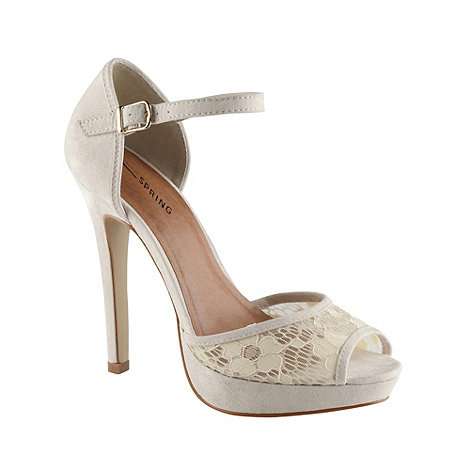 Call It Spring - Cream +flodars+ high heel lace panel court shoes