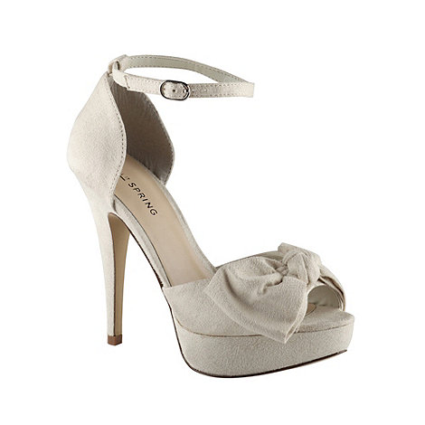 Call It Spring - Cream high heeled bow court shoes - size 7