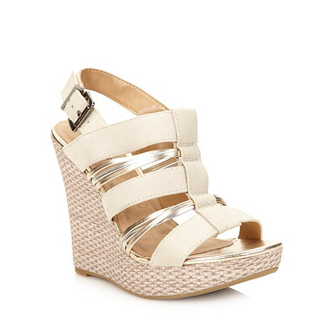 Call It Spring - Natural metallic strapped high wedge sandals