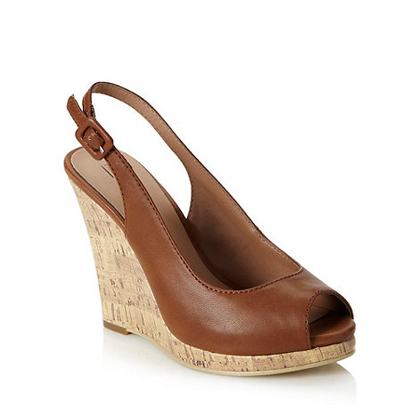 Call It Spring - Tan high cork wedge slingback sandals