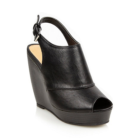 Call It Spring - Black high wedge heeled slingback shoes