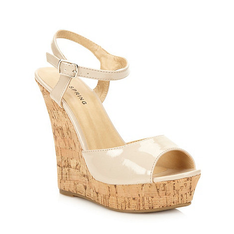 Call It Spring - Beige cork high wedge heeled sandals