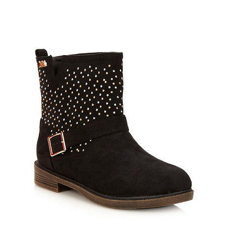 XTI - Black suedette studded ankle boots