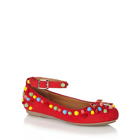 Shellys - Red multi coloured studded pumps