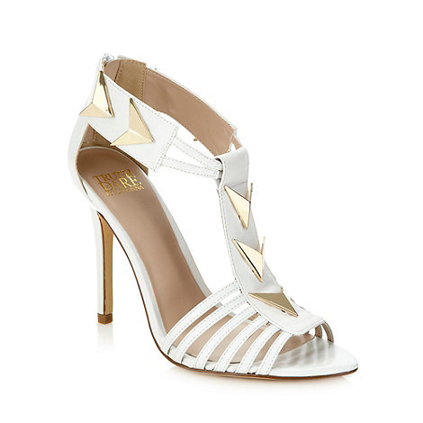 Truth or Dare - White triangular studded high heeled sandals