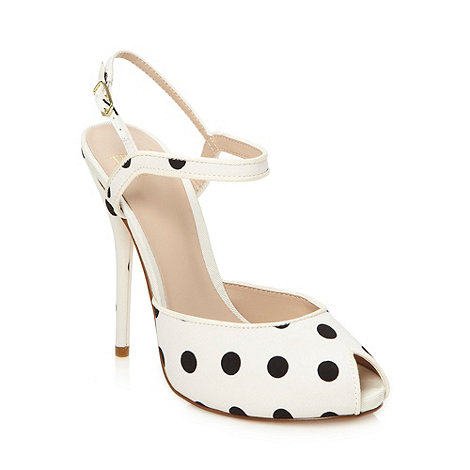 Truth or Dare - White high polka dot sandals