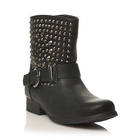 Call It Spring - Black studded leatherette +dousa+ ankle boots