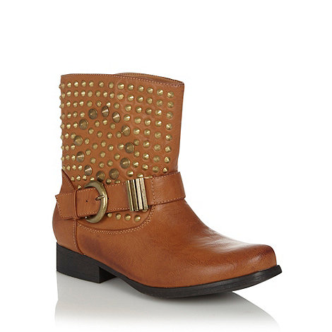 Call It Spring - Tan studded low heeled calf boots with round toes