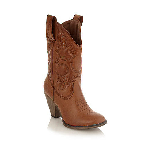 Call It Spring - Tan studded cowboy boots