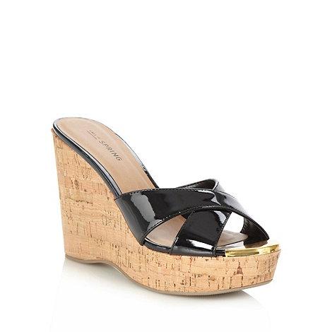 Call It Spring - Black +kokawa+ high wedge sandals