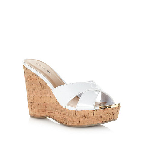 Call It Spring - White +kokawa+ high cork wedge sandals