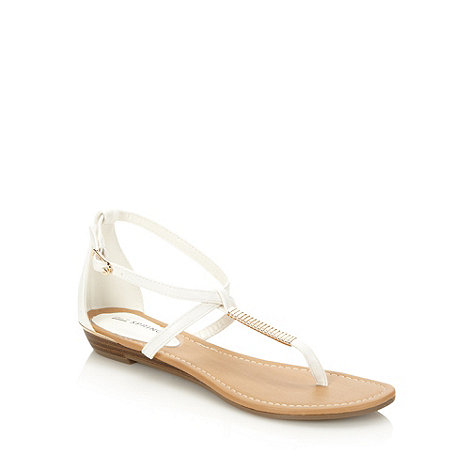 Call It Spring - White metallic striped t-bar sandals