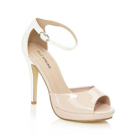 Call It Spring - Cream high patent colour block sandals