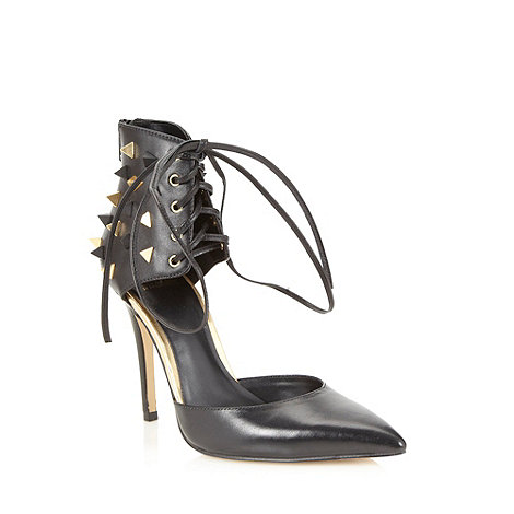Truth or Dare - Black leather studded ankle high court shoes