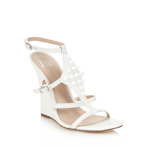 Truth or Dare - White leather studded high wedge sandals