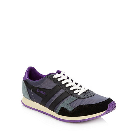 Gola - Navy suede panelled trainers