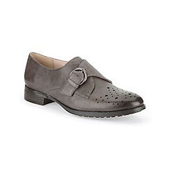 Clarks - Dark grey leather ' Busby Jazz ' monk shoe