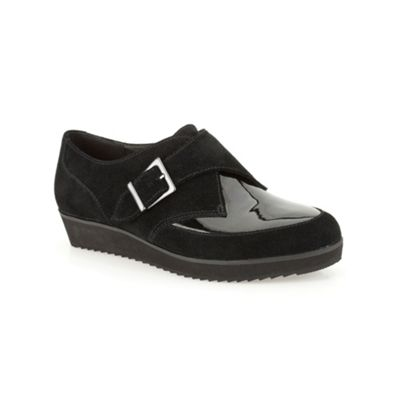 Clarks Black suede ´ Compass Point ´ flat monk shoe - . -