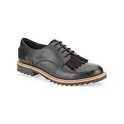 Clarks - Black leather ' Griffin Mabel ' flat lace up shoe