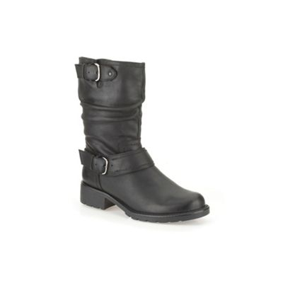 Clarks Black leather ´ Orinocco Jive ´ mid calf flat boot - . -