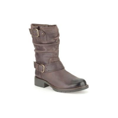Clarks Brown leather ´ Orinocco Jive ´ mid calf flat boot - . -