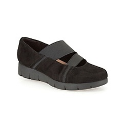 Clarks - Black suede ' Daelyn Villa ' flat bar shoe