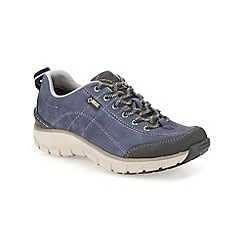 Clarks - Navy leather 'Wave TrailGTX' flat lace up shoe