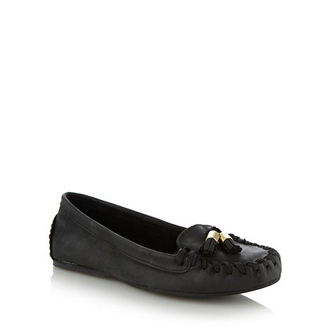 Faith - Black leather moccasins
