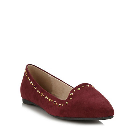 Faith - Wine studded suedette pumps
