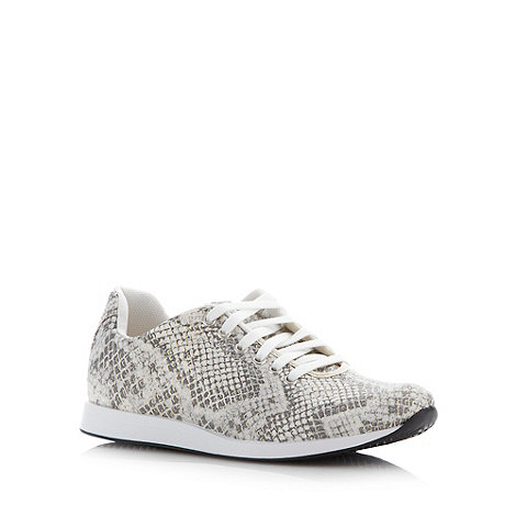 Faith - Off white faux snakeskin trainers
