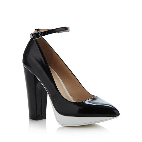 Faith - Black colour block high heeled mary janes