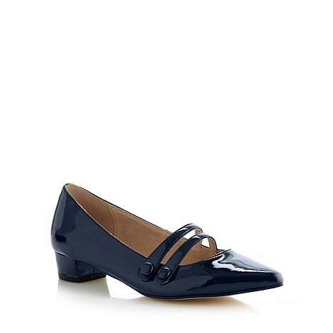 Faith - Navy patent pointed toe low pumps