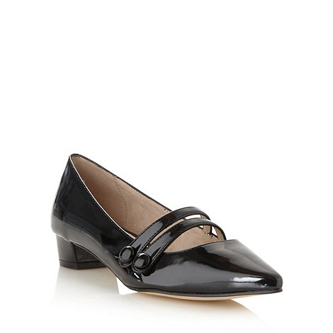 Faith - Black patent pointed toe mid court shoes