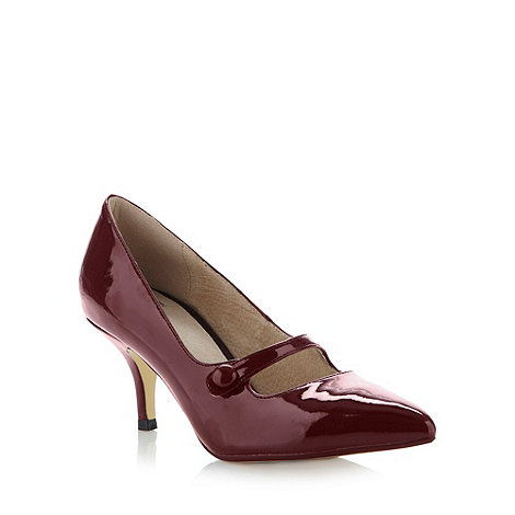 Faith - Wine patent mid pointed court shoes